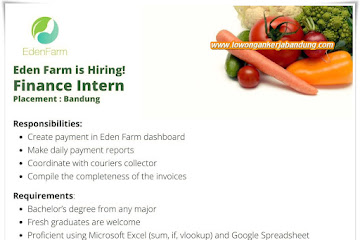 Lowongan Kerja Finance Intern Eden Farm