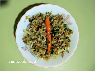 Bhat aru Masor Petu Bhoja / Fried Rice with Fish Intestine