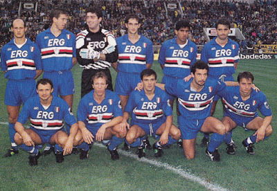 Sejarah UC Sampdoria UC Sampdoria adalah sebuah Klub dengan nama lengkap Unione Calcio Sampdoria.Klub ini berbasis di kota Genoa, Italia. Sampdoria memiliki beberapa julukan antara lain: Blucerchiati, Il Samp dan Il Doria. Stadion Luigi Ferraris yang terletak di kota Genoa menjadi markas bagi Sampdoria dalam menggelar pertandingan kandangnya baik di kompetisi domestik maupun eropa. Selain digunakan Il Samp, stadion Luigi Ferraris yang memiliki kapasitas sekitar 36.000 tempat duduk tersebut juga menjadi kandang bagi rival sekota mereka, Genoa CFC.   Menurut catatan sejarah Genoa CFC merupakan klub sepakbola tertua di Italia. Laga panas duel klub sekota antara Sampdoria dan Genoa CFC ini sering dikenal dengan sebutan Derby Della Lanterna.Sampdoria sendiri berdiri pada tanggal 1 Agustus 1946 . Berdirinya Il Samp ini merupakan penggabungan dua klub lokal di Genoa yaitu Sampierdarenese dan Andrea Doria.    Sampierdarenese merupakan klub sepakbola di Genoa yang berdiri pada tahun 1891. Sedangkan Andrea Doria berdiri pada tahun 1895. Penggabungan tersebut secara langsung juga mempengaruhi corak dan warna kostum Sampdoria yang merupakan kombinasi penggabungan dari kedua klub tersebut. Warna putih, merah, hitam adalah warna yang mewakili klub Sampierdarenese sedangkan biru mewakili dari klub Andrea Doria.   Pertengahan dekade 1980-an hingga awal 1990-an