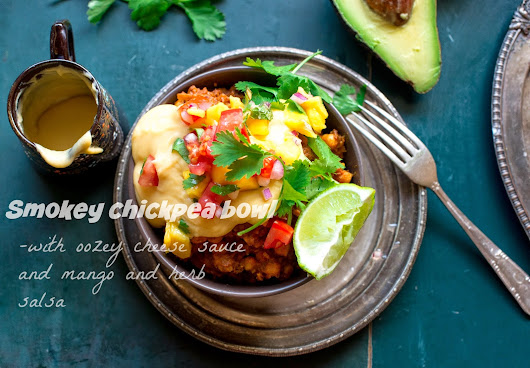 Smokey chickpea bowl with oozey cheese sauce and mango salsa!!
