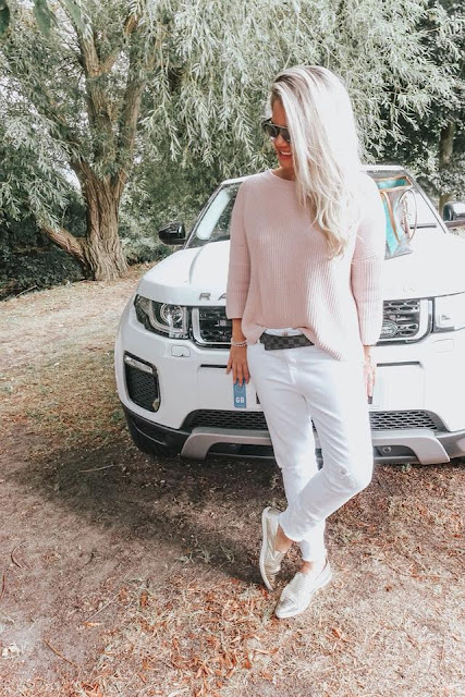 Whitney with her range rover evoque