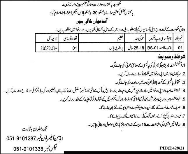 Ministry of Federal Education & Professionals Training Jobs