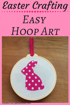 Craft Project Easy Hoop Art Easter Bunny polka dot pink children easter craft idea