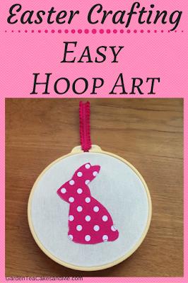 Craft Project Easy Hoop Art Easter Bunny polka dot pink children easter craft idea