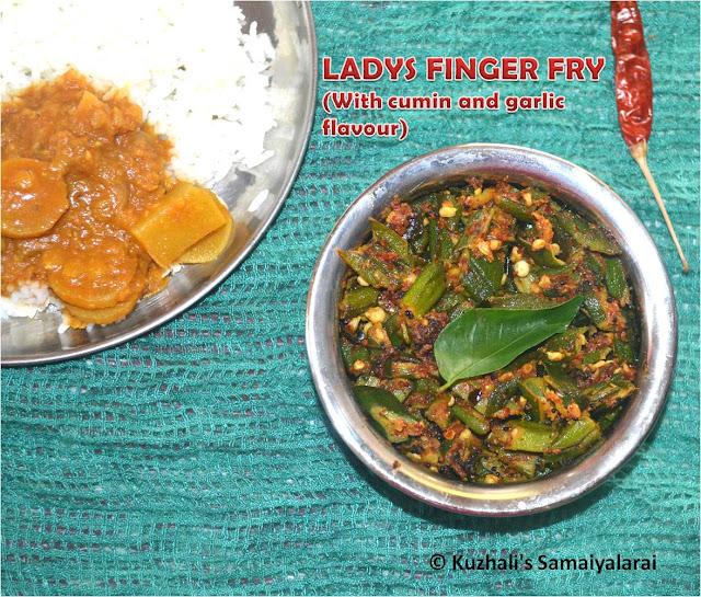 BINDI(LADYS FINGER / VENDAIKKAAI) FRY WITH CUMIN AND GARLIC FLAVOUR