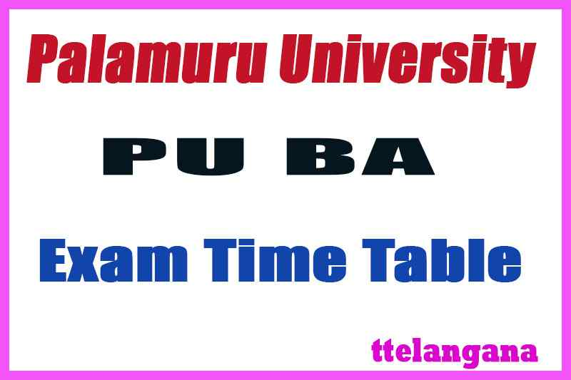 Palamuru University B.A (Languages) Exam Time Table