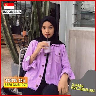 Dmb1207 Fashion Atasan Lilac Jaket Jeans Fringe Denim Fashion Wanita Hits Ootd Selebgram Masa Kini