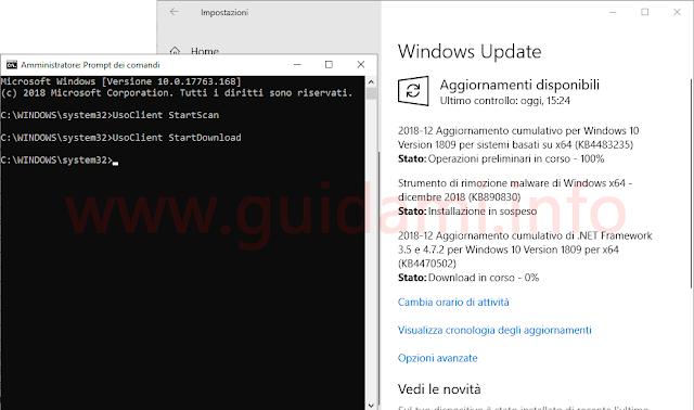 Prompt dei comandi Windows 10 con comandi per gestire Windows Update