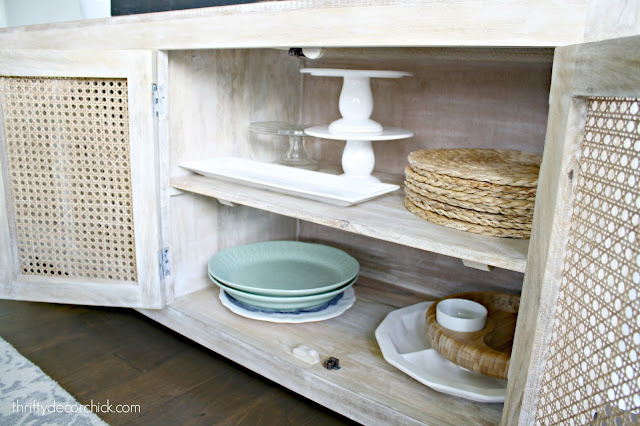 Storing large dishes in dining area