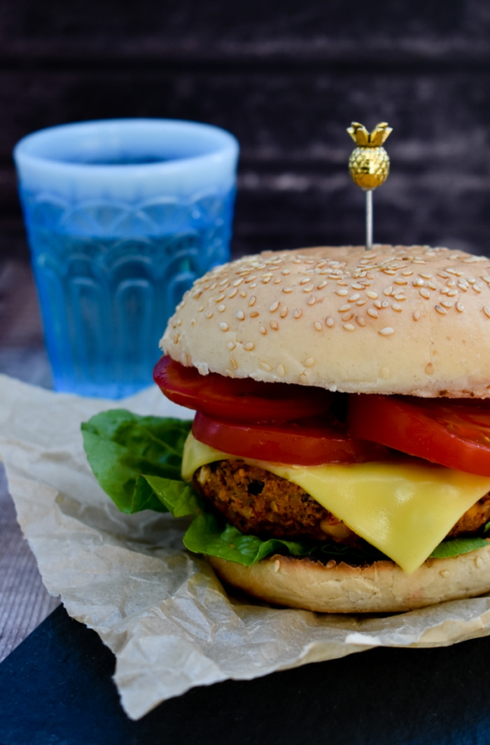 Smoky Red Pepper & Cheese Bean Burgers with melted cheese