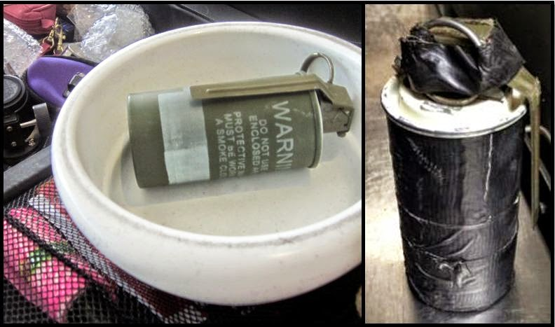 From the left: Live smoke grenade discovered at Tulsa (TUL), and a live flash bang grenade discovered at Ft. Walton (VPS).