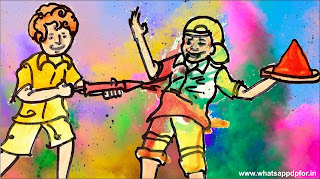 holi scene drawing pictures