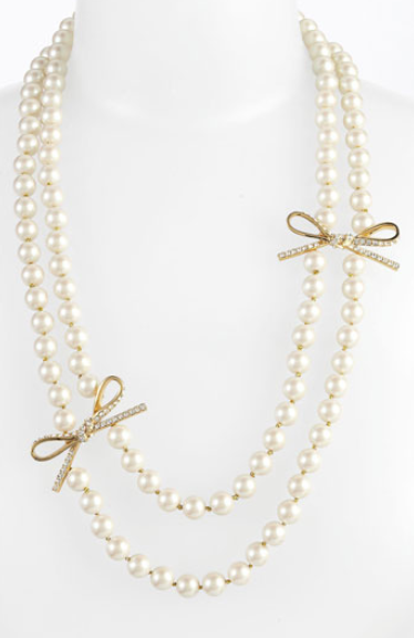 Kate Spade new york pearl and bow necklace. Via Diamonds in the Library.