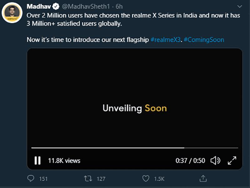 realme CEO's teaser tweet