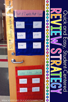 Spiral review is a great way to keep students' skills sharp. I love this idea for using pocket charts on the door for a quick review of concepts when lining up to leave the classroom. Super easy and versatile! http://www.adventuresofaschoolmarm.com/2012/04/before-you-leave-will-you-please.html