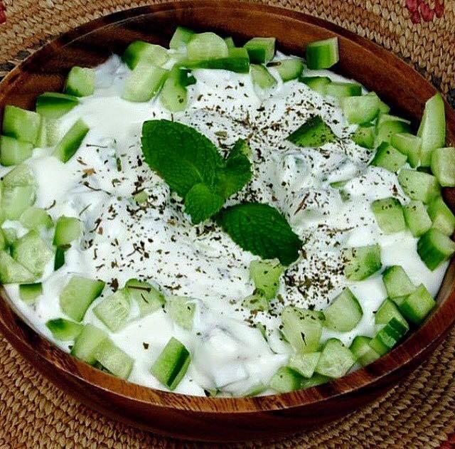 Milk salad and cucumber for rummaging