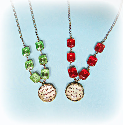 image vintage glam it up necklace mr darcy jane austen pride and prejudice peridot green siam red jewel