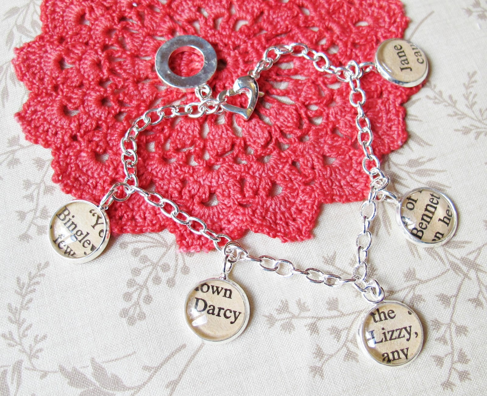 image charm bracelet pride and prejudice mr darcy bingley lizzy bennet jane austen two cheeky monkeys