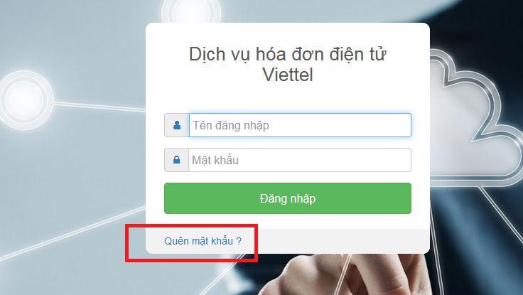 Hình 1 - Nhấn Quên mật khẩu trên trang Sinvoice