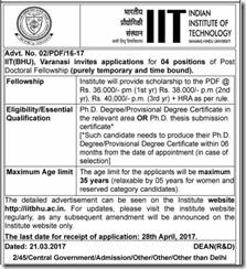 IIT BHU Recruitment 2017