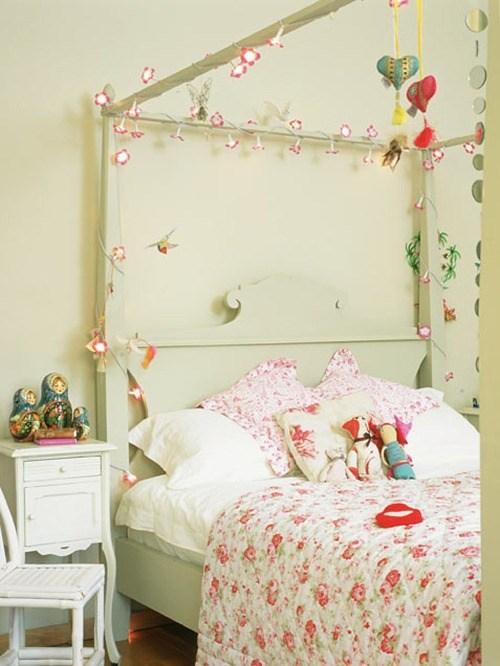 quarto para menina, cama com dossel, pisca pisca