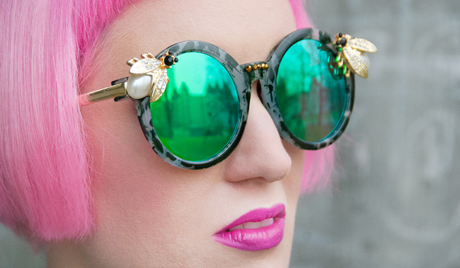 Maude studio, emerald green bee sunglasses, iridescent