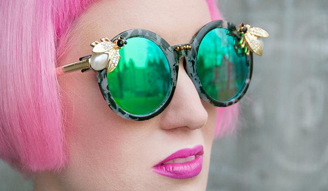Maude studio, emerald green bee sunglasses, iridescent
