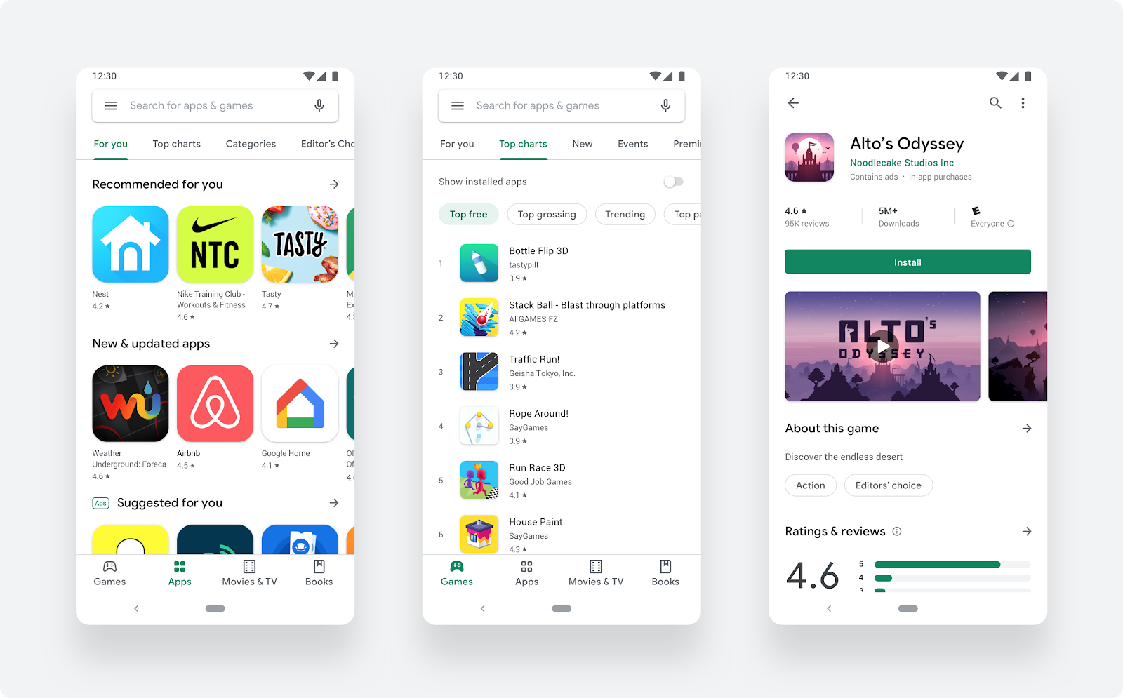 Google Play store's visual refresh