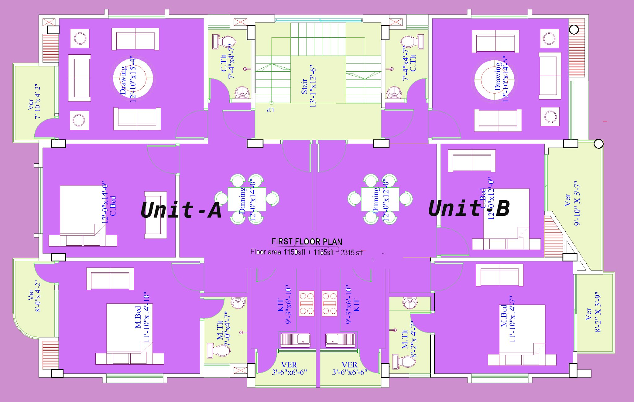 2300 sq ft first-floor plan