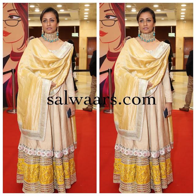 Namratha Shirodkar Cream Color Silk Salwar
