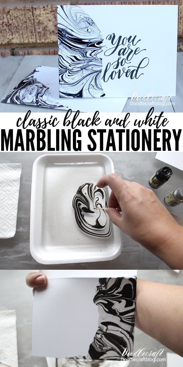 Make marbled stationery with Easy Marble black and white marbling classic cards for wedding, invites, place cards, and other papercrafts.