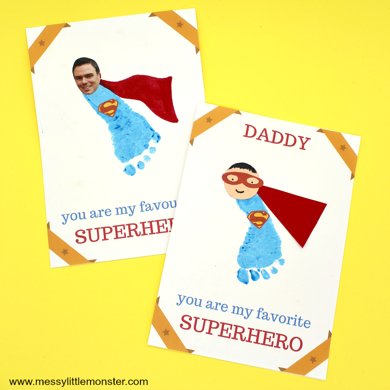 Printable Father's day cards - Footprint superhero super dad