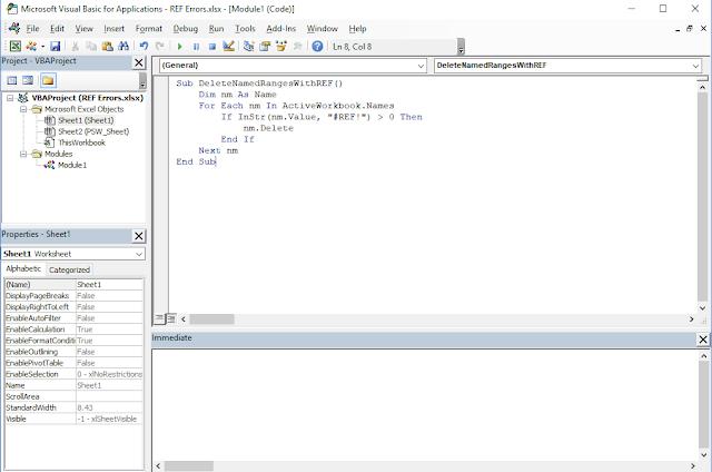 Cách xóa tất cả các phạm vi đã đặt tên có lỗi #REF Excel bằng VBA