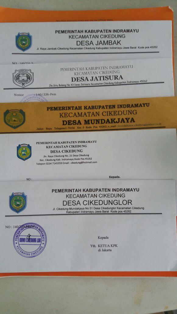 Empat Desa di Kecamatan Cikedung layangkan surat ke KPK