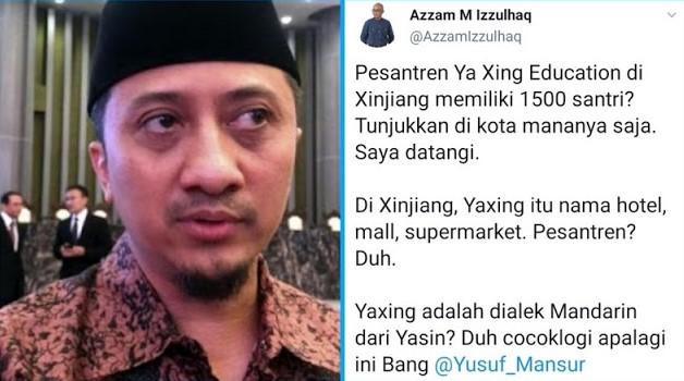 Yusuf Mansur Klaim Pesantren di Xinjiang, Azzam Izzulhaq: Tunjukan Dimana? Saya Datangi