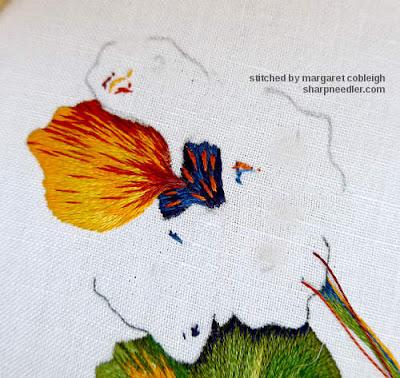 Main needlepainted nasturtium flower: first petal. (Catherine Laurencon Capucines (Inspirations))