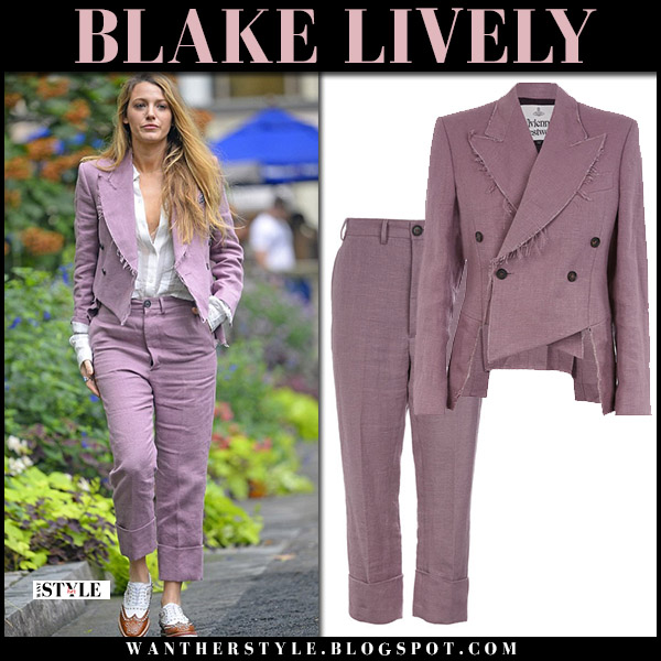 Blake Lively in dusty pink pantsuit vivienne westwood fall celebrity fashion august 20