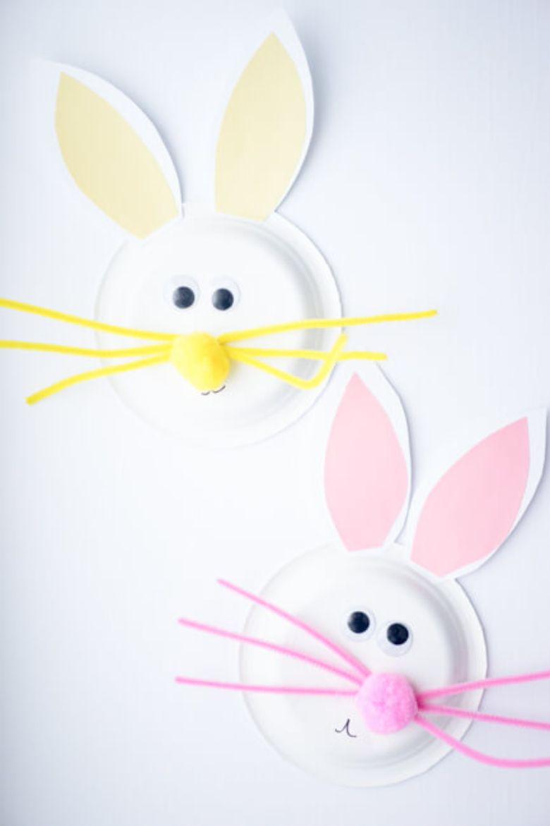 Easter crafts for preschoolers - Paper plate bunny craft