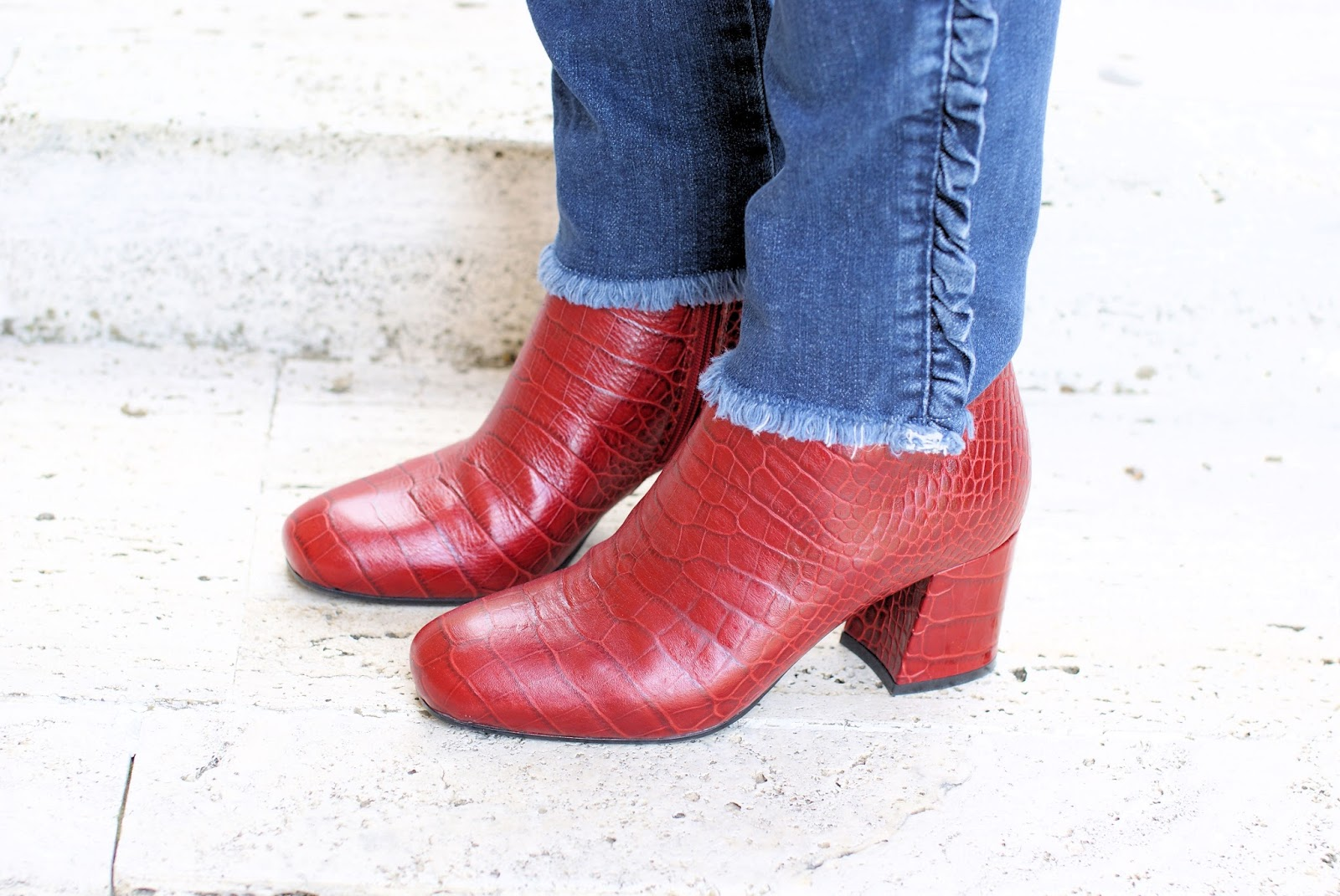 Le Silla croc print red ankle boots on Fashion and Cookies fashion blog, fashion blogger style