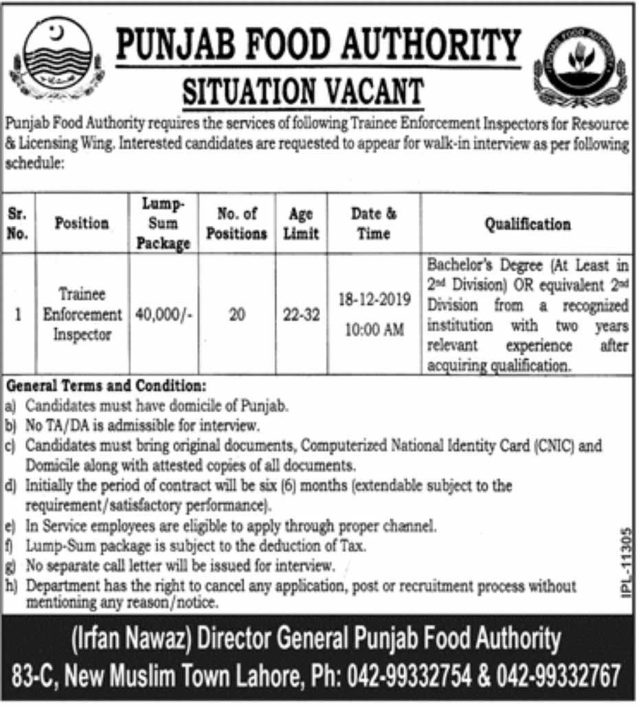 Jobs in Punjab Food Authority Dec 2019
