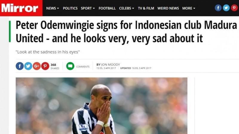 Mirror sebut Peter Odemwingie sedih gabung Madura United