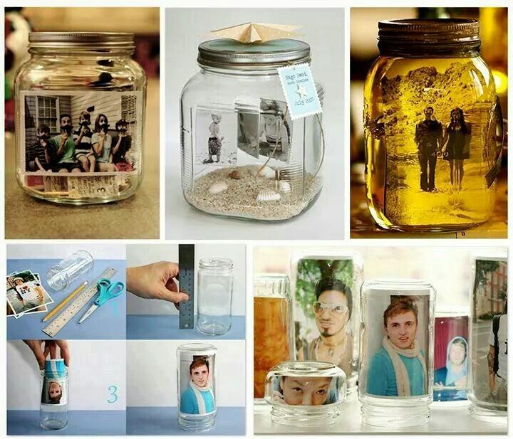 Portaretratos reciclados con tarros de cristal