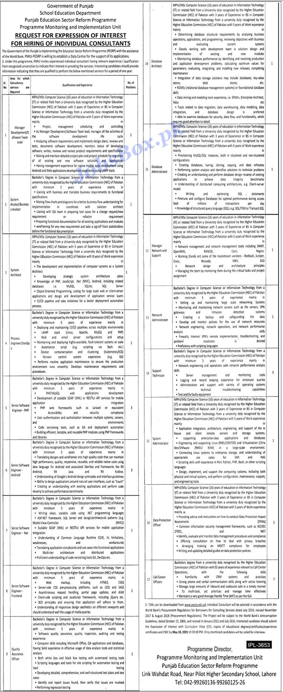 Latest School Education Department Punjab Jobs In Pakistan 2021