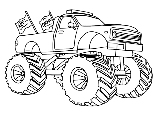 How to draw Monster Truck  in nine steps