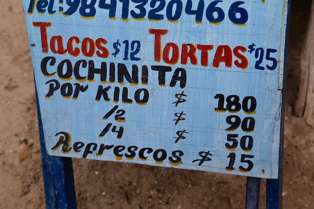 cochinita prices,  holbox,yucatan, mexico