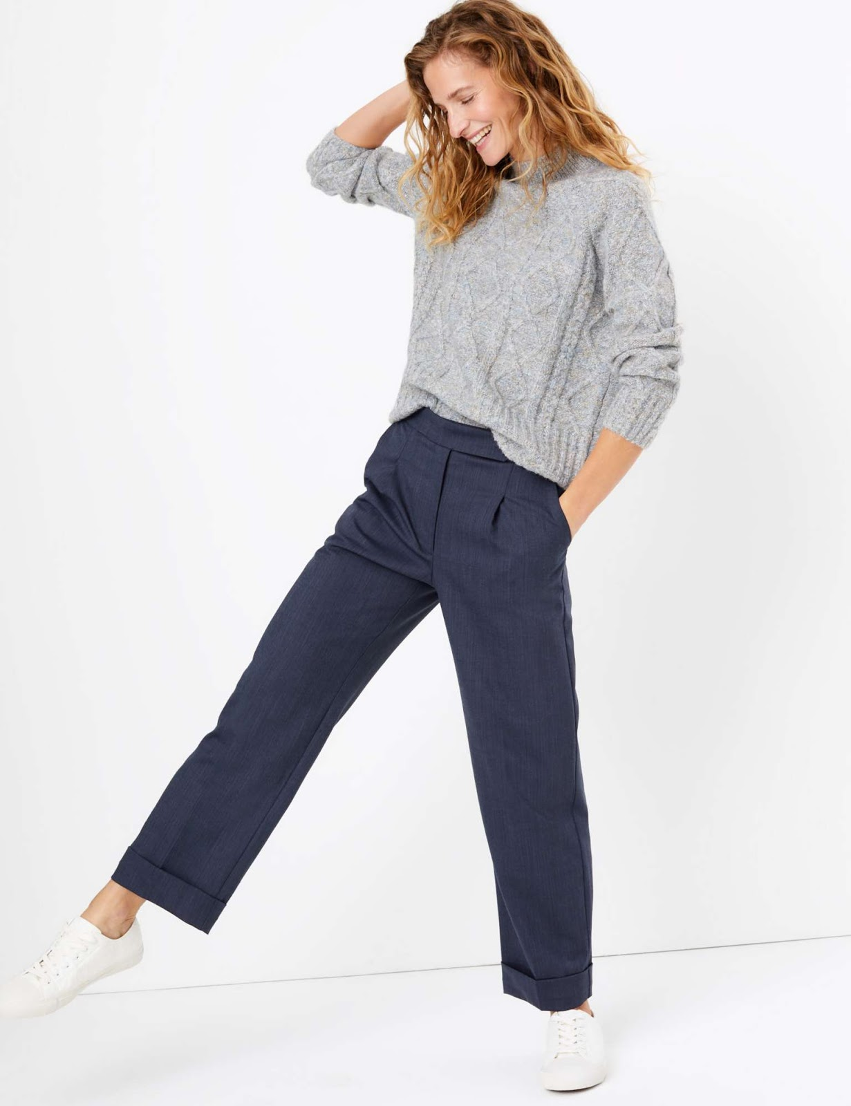Marks and Spencer wool blend straight leg trousers