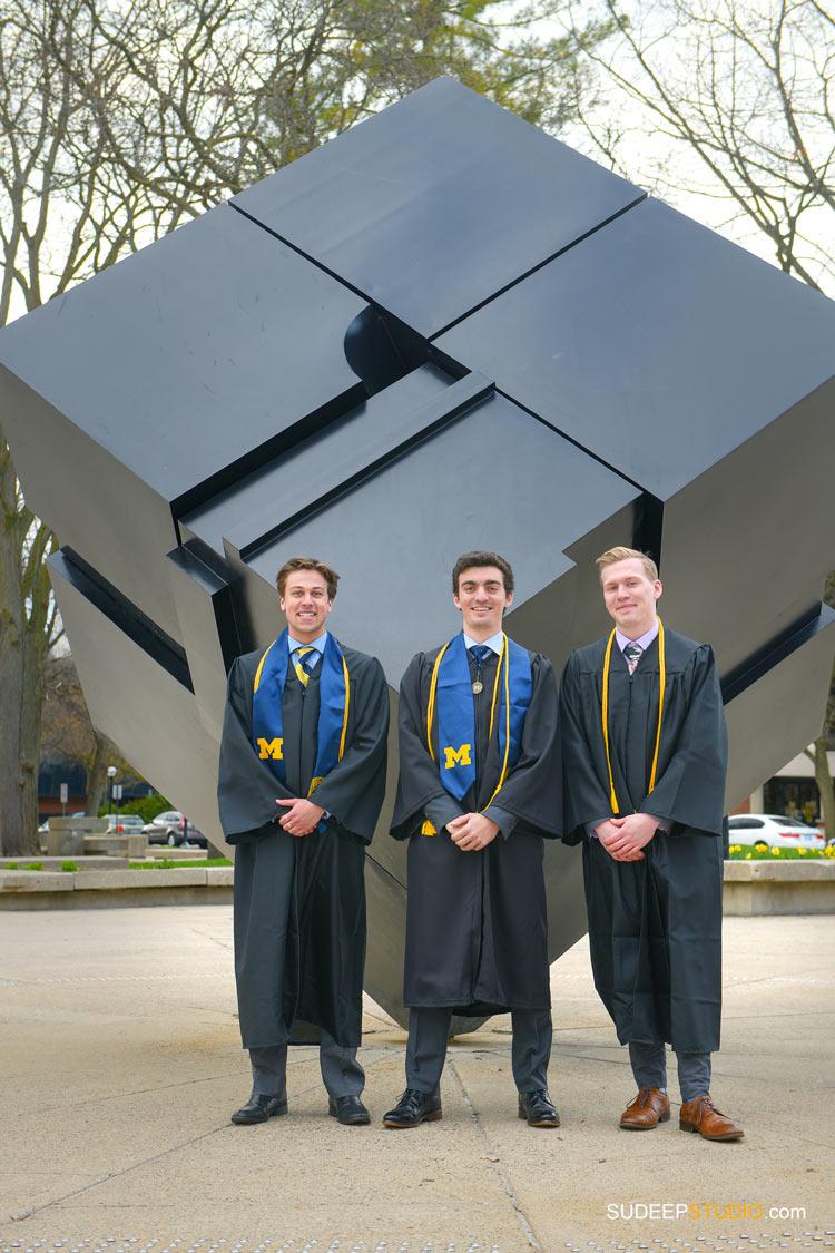 University of Michigan Engineering Graduation Pictures on Campus by SudeepStudio.com Ann Arbor Graduation Portrait Photographer