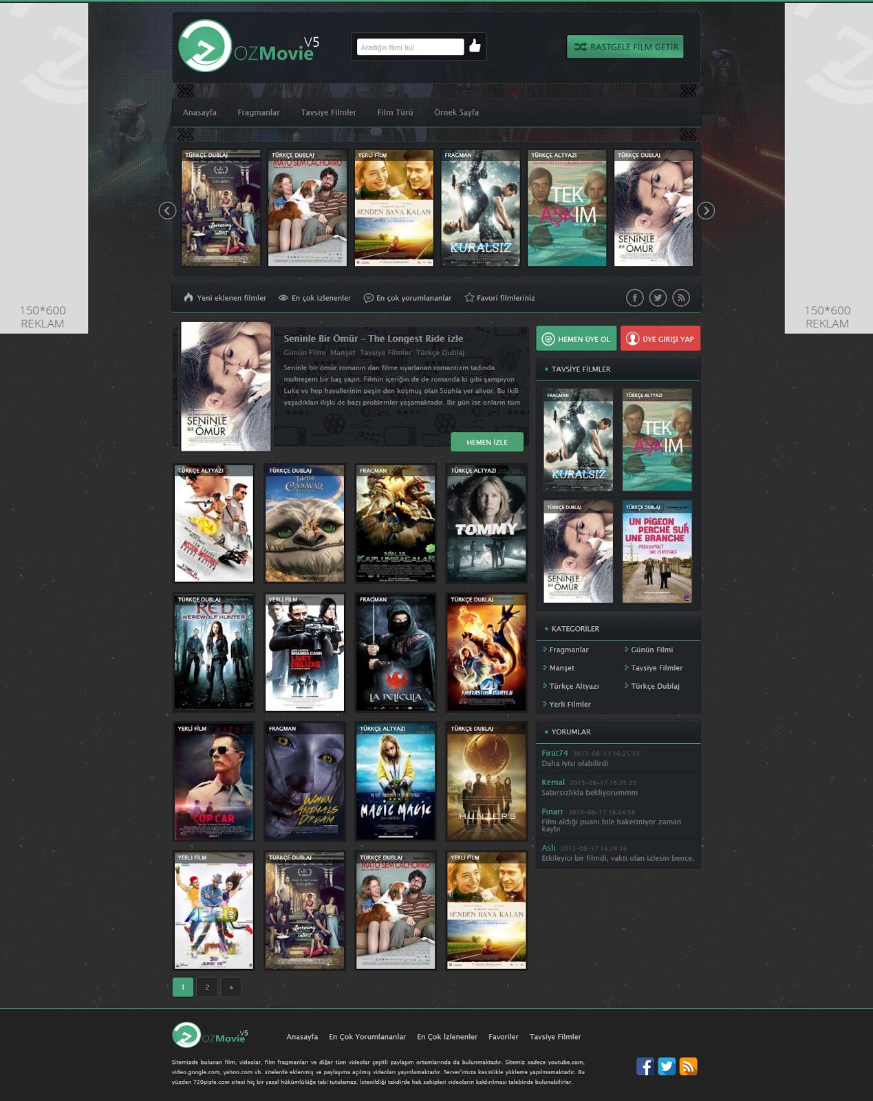OzMovie V5 Ücretsiz Responsive Wordpress Film Teması