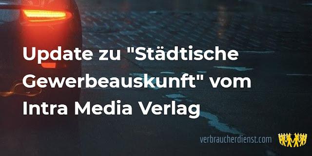 """Titel: Update zu """"Städtische Gewerbeauskunft"""" vom Intra Media Verlag"""