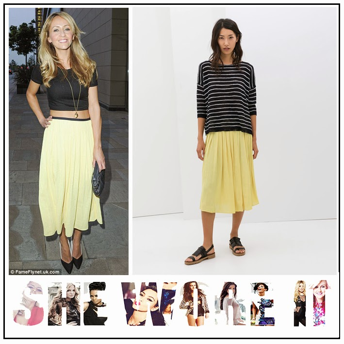 f190adaa36 Samia Ghadie in Zara Lemon Yellow Elastic Waist Box Pleat Skirt with Black  Waistband Detail and Topshop Black Skinny Rib Crop Top with Three Quarter  Sleeves